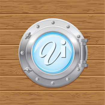 Royalty Free Clipart Image of a Porthole in Wood