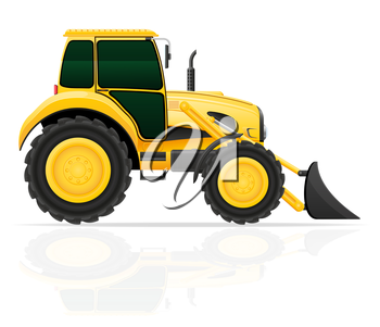 tractor with bucket front seats vector illustration isolated on white background
