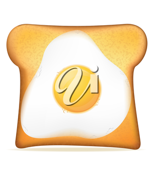 toast with egg vector illustration isolated on white background
