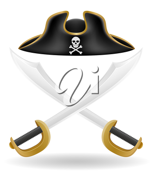 pirate hat tricorn and sword vector illustration isolated on white background