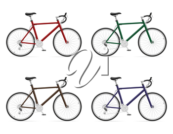 road bikes with gear shifting vector illustration isolated on white background