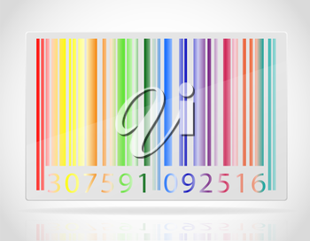multicolored barcode vector illustration isolated on white background