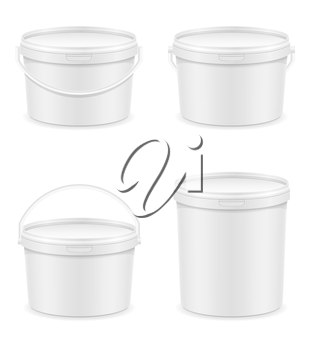 white plastic bucket for paint vector illustration isolated on background