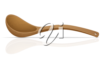 wooden spoon vector illustration isolated on white background