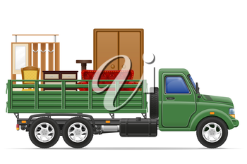 cargo truck delivery and transportation of furniture concept vector illustration isolated on white background