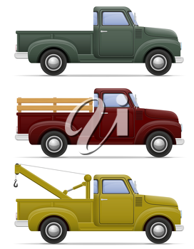 old retro car pickup vector illustration isolated on white background