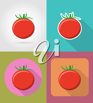 tomato vegetable flat icons with the shadow vector illustration isolated on background