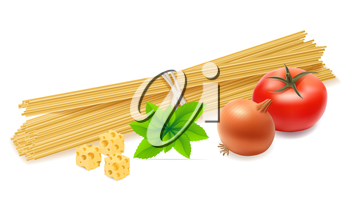 pasta with vegetables vector illustration isolated on white background