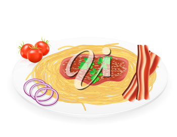 pasta on a plate with vegetables vector illustration isolated on white background