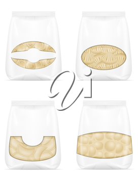 dumplings of dough with a filling in packaged set icons vector illustration isolated on white background