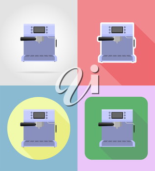 coffee maker household appliances for kitchen flat icons vector illustration isolated on background