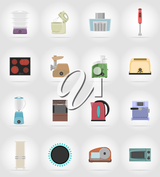 household appliances for kitchen flat icons vector illustration isolated on background