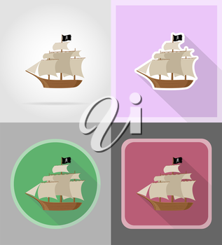 pirate ship flat icons vector illustration isolated on background