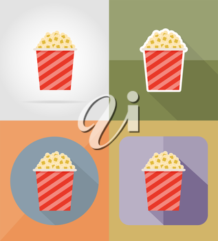 popcorn cinema flat icons vector illustration isolated on background