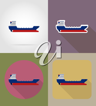 cargo ship flat icons vector illustration isolated on background