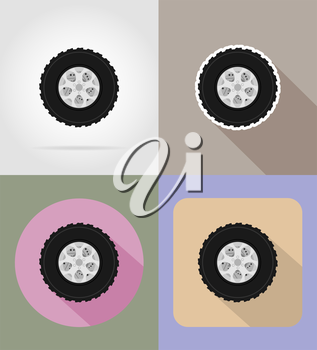 wheel for car flat icons vector illustration isolated on background
