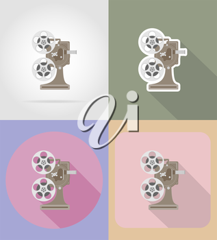 old retro vintage projector flat icons vector illustration isolated on background