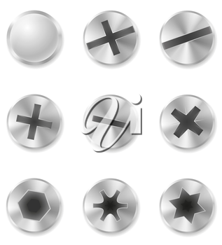 screws bolts and rivet vector illustration isolated on white background