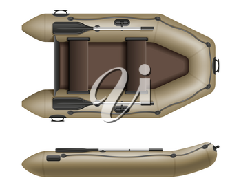 inflatable rubber boat for fishing and tourism vector illustration isolated on white background