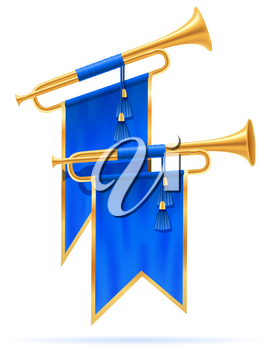 king royal golden horn trumpet vector illustration isolated on white background