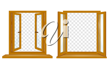 open wooden window with transparent glass for design vector illustration isolated on white background