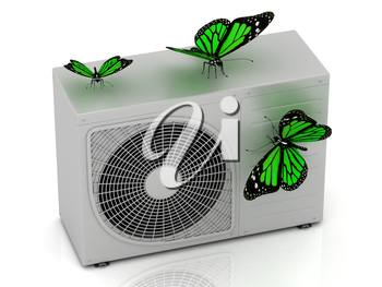 3 green butterfly sits on a street conditioner on a white background