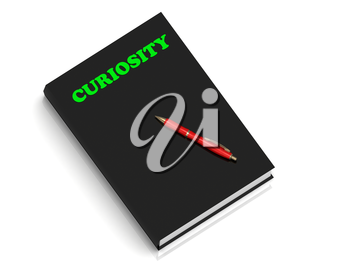 CURIOSITY- inscription of green letters on black book on white background