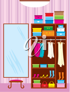 Royalty Free Clipart Image of a Wardrobe Room