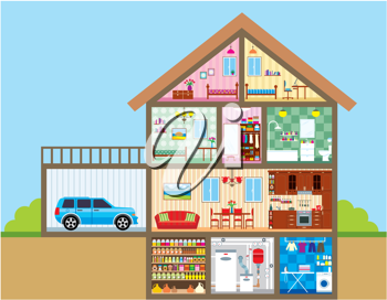 Royalty Free Clipart Image of the Interior of a House