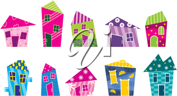 Royalty Free Clipart Image of a Set of Cartoon Houses
