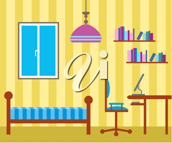Royalty Free Clipart Image of a Bedroom Office