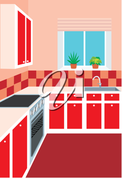 Royalty Free Clipart Image of a Red Kitchen