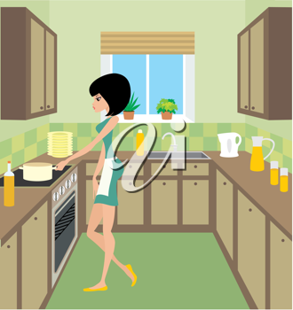 Royalty Free Clipart Image of a Woman in a Kitchen