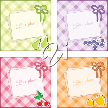 Royalty Free Clipart Image of Fruit Frames on Gingham