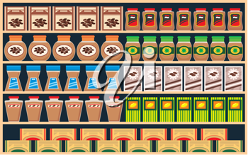 Royalty Free Clipart Image of Items on Shelves