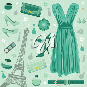 Royalty Free Clipart Image of a Fashion Set With the Eiffel Tower