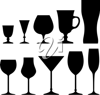 Royalty Free Clipart Image of a Set of Silhouette Glasses