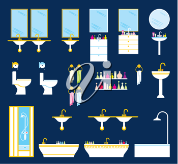 Royalty Free Clipart Image of a Set of Bathroom Items