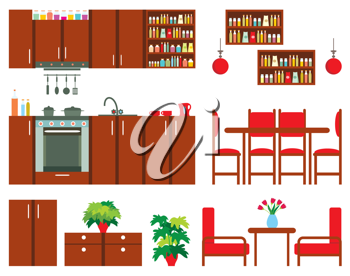 Royalty Free Clipart Image of Kitchen Furniture