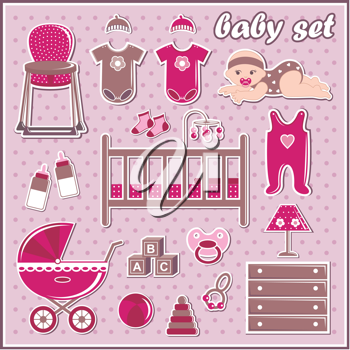 Royalty Free Clipart Image of Baby Elements