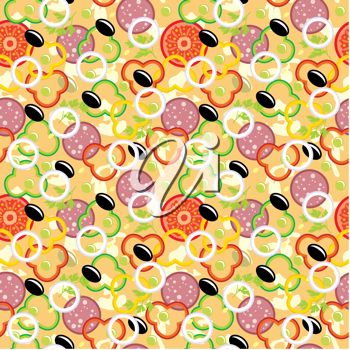 Royalty Free Clipart Image of a Pizza Background