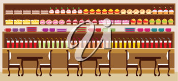 Royalty Free Clipart Image of a Bakery Cafe