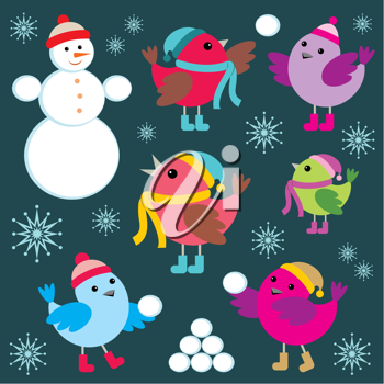Royalty Free Clipart Image of a Winter Background With Birds and a Snowman