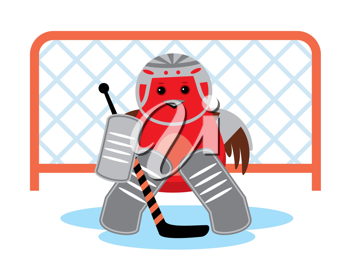Royalty Free Clipart Image of a Bird Goalie