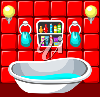 Preview bathroom with design elements.Vector illustration