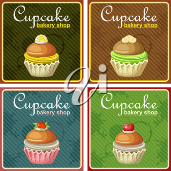 Set of four vintage posters cupcake.