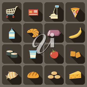 Flat icons set for Web and Mobile Applications. Supermarket.