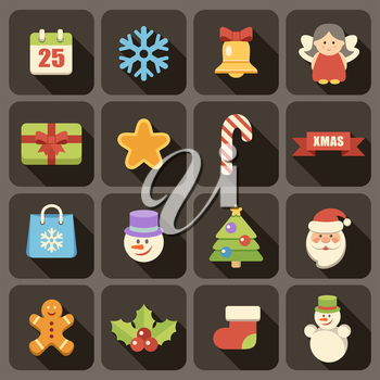 .Flat icons set for Web and Mobile Applications. Christmas.