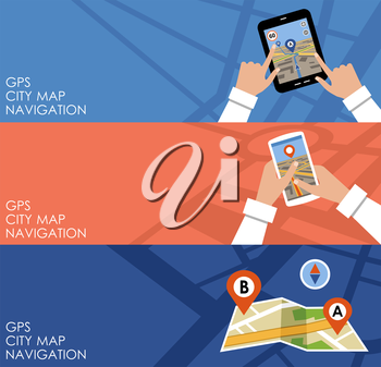 Image of three banners with GPS in flat design style. Navigation. Vector illustration