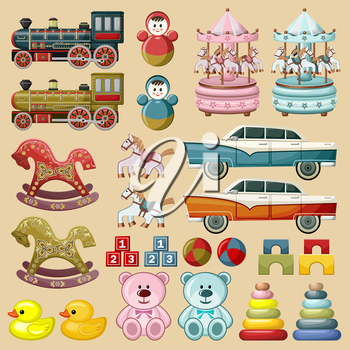 Image of vintage toys - cars, trains, horses, bears